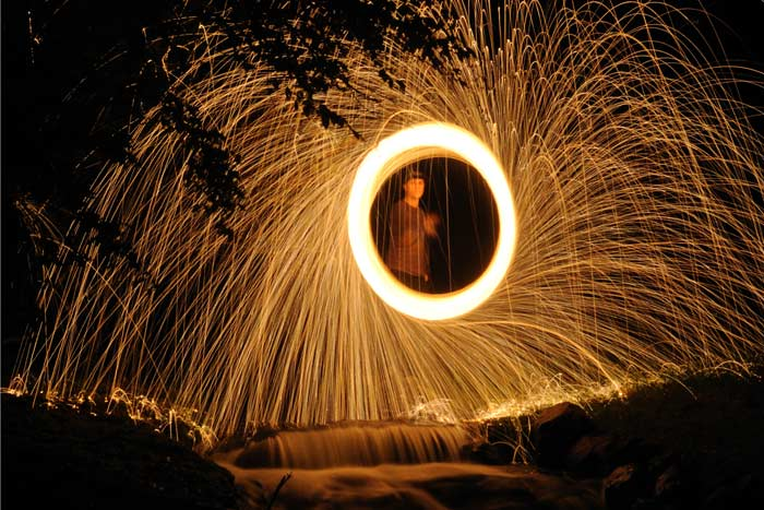 Jesse with steel wool
